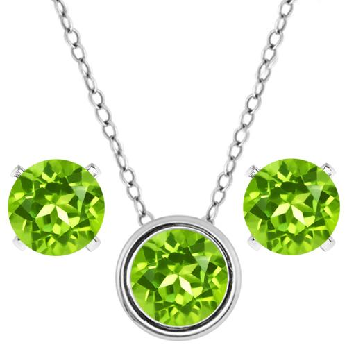 2.70 Ct Round Green Peridot 925 Sterling Silver Pendant Earrings Set