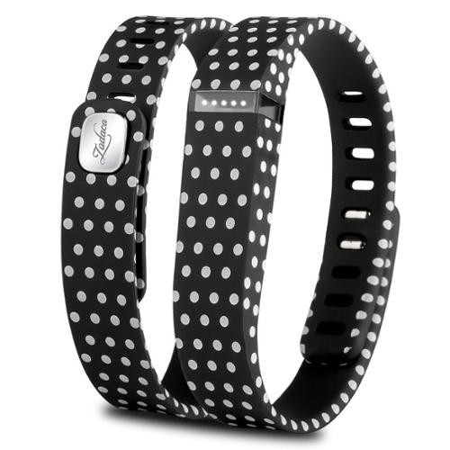 Zodaca 3D TPU Wristband Replacement Large Band Bracelet Wireless Activity Tracker Clasp for Fitbit Flex Black Polka dot