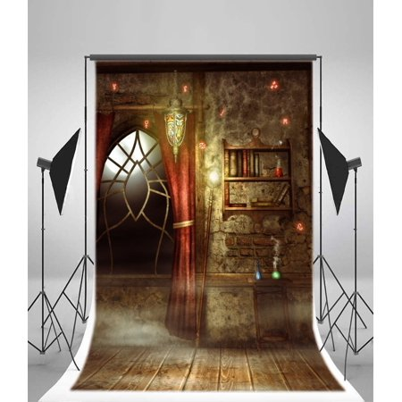 HelloDecor Polyester 5x7ft Photography Backdrop Halloween Interior Arch Window Red Curtain Magic Books Shabby Chic Blurry Wall Retro Stripes Wood Floor Interior