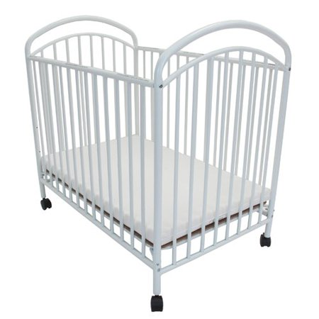 L.A. Baby Classic Arched Compact Metal Convertible Crib with Mattress, White