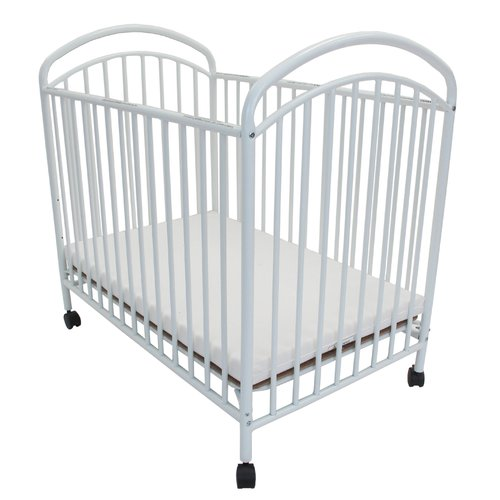 L.A. Baby Classic Arched Mini/Portable Metal Convertible Crib with Mattress, White
