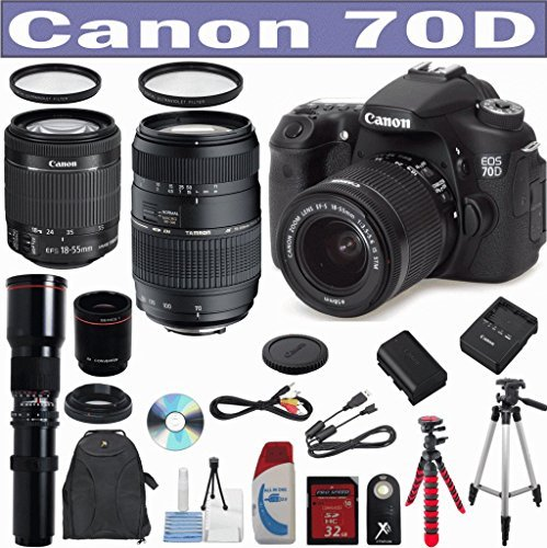 Canon EOS 70D 20.2 MP Dual Pixel CMOS Digital SLR Camera w EF-S 18-55mm f 3.5-5.6 IS STM Lens + Tamron AF... by 33rd Street