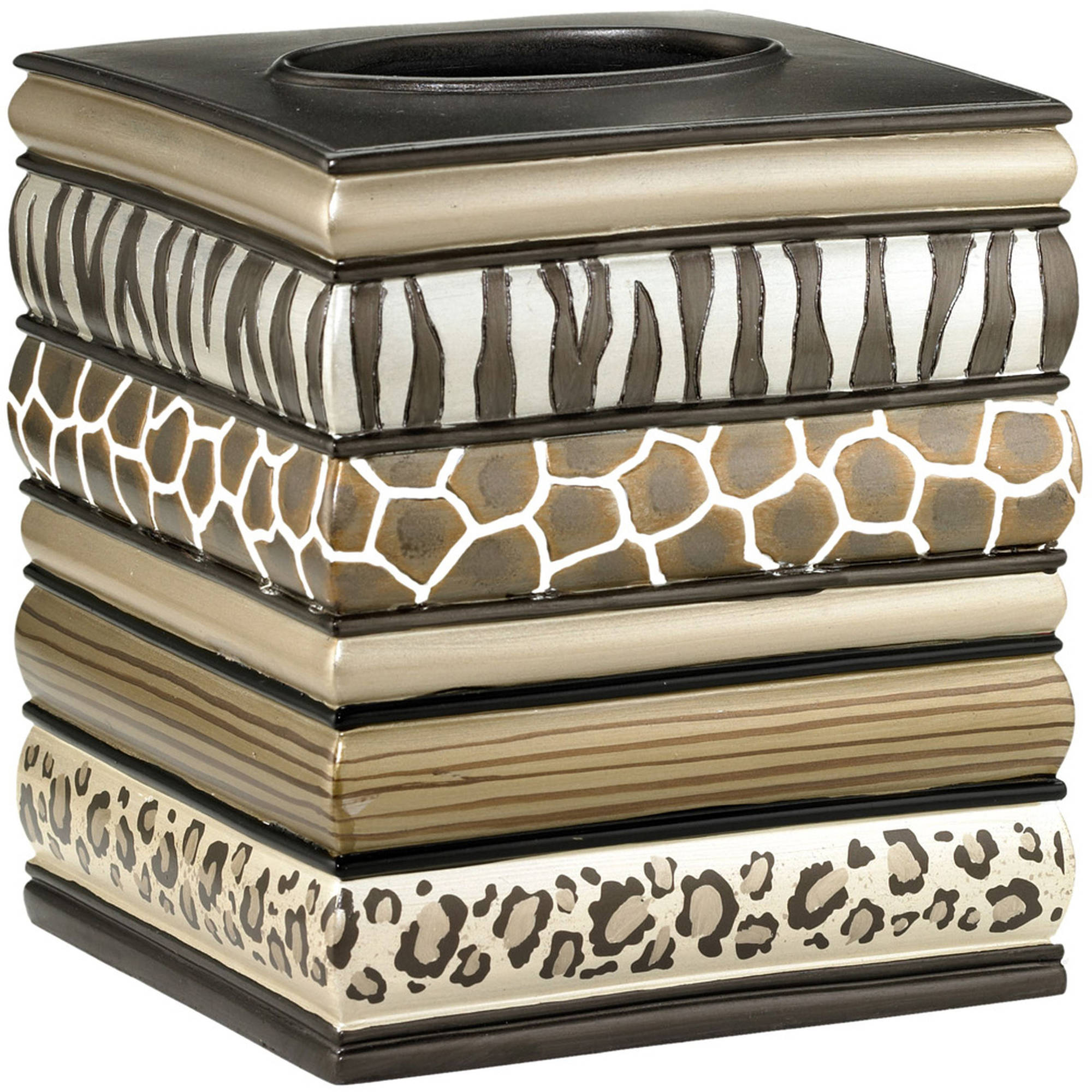Popular Bath Safari Stripes Bath Collection Bathroom Tissue Box Cover