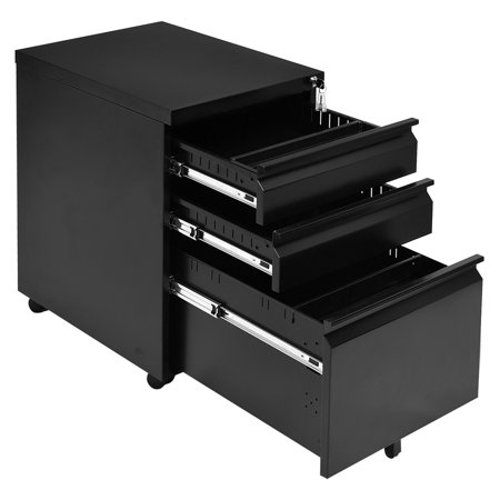 Costway Black 3 Drawers Rolling Mobile File Pedestal Storage Cabinet Steel Home