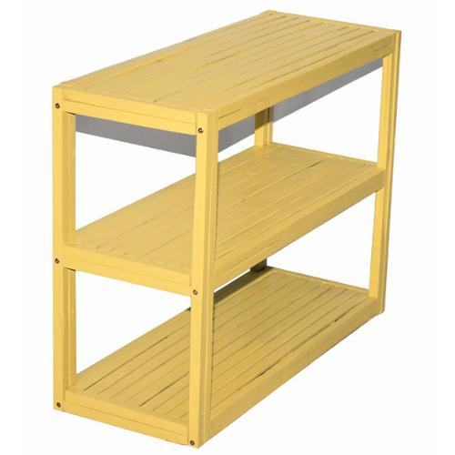 Bamboo 3-tier Rectangle Shelf/ Console Table (Vietnam) Retangle shelf yellow