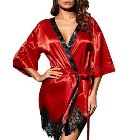 Women's Floral Eyelash Lace Trim Kimono Sleepwear Robe Solid Color Plus Size