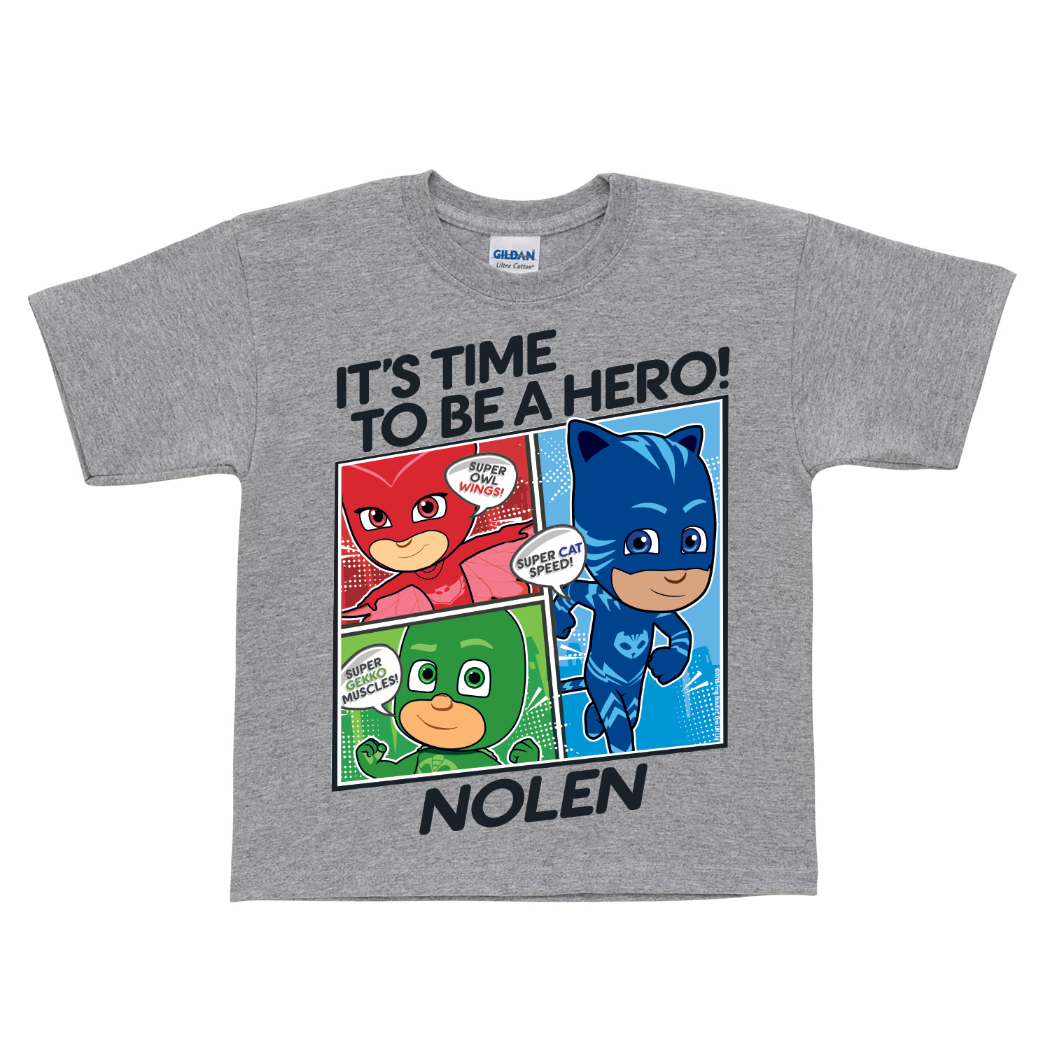 PJ Masks It's Time To Be A Hero Gray Toddler T-Shirt - 2T, 3T, 4T 5/6T