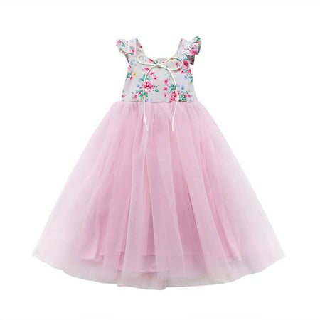 Infant Toddler Kids Wedding Bridesmaid Birthday Maxi Dresses Princess Party Flowers Tulle Tutu Dress
