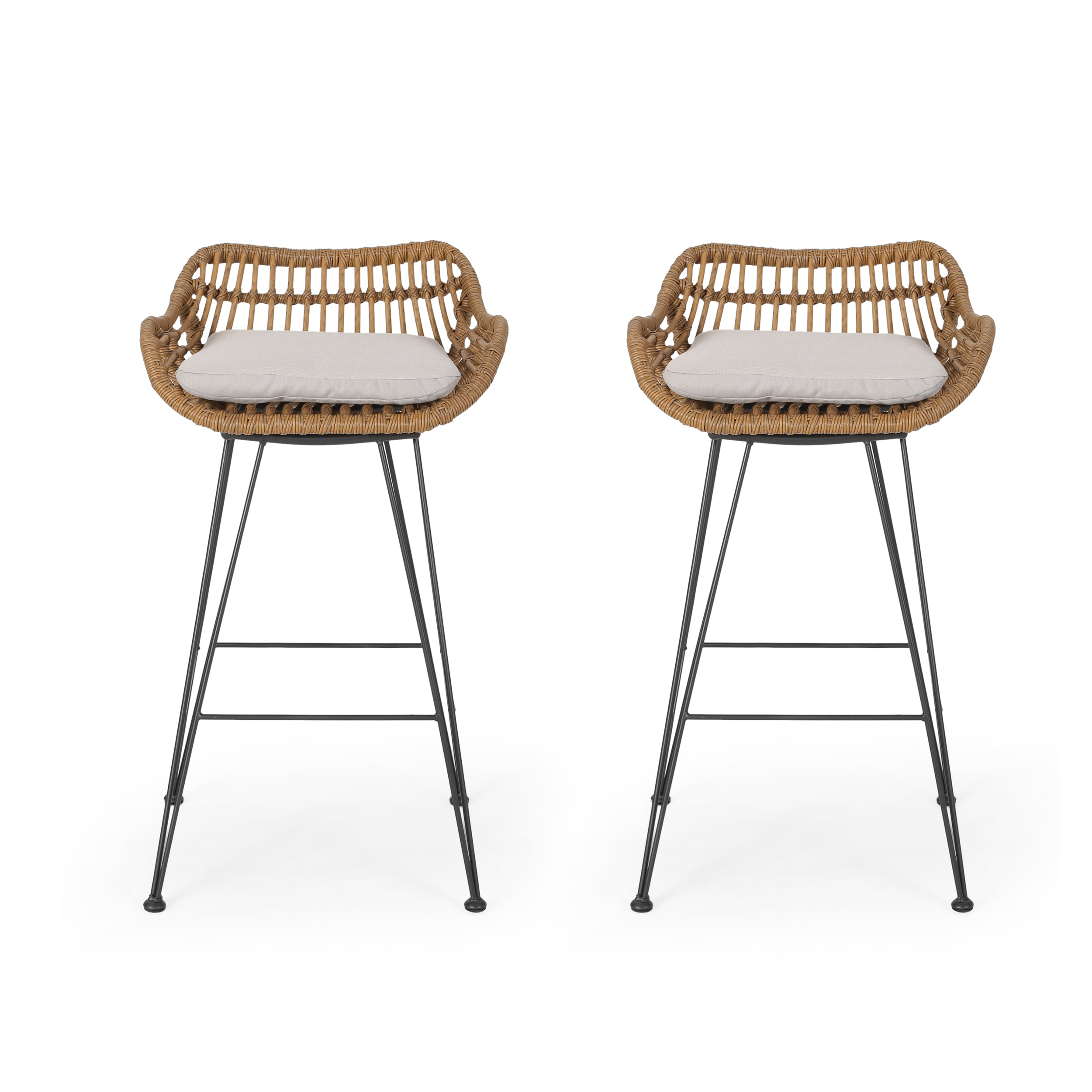 Image of: Lisa Outdoor Wicker Barstools With Cushions Set Of 2 Light Brown And Beige Walmart Com Walmart Com