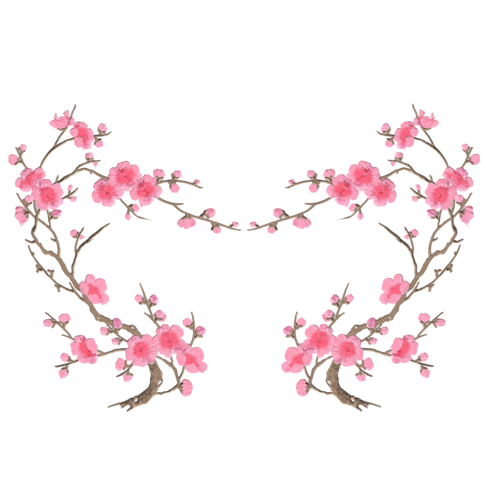 Pink Cherry Blossom Flowers Set of Two Embroidered Iron on Patches
