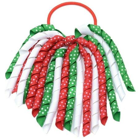 Girls Red Green Christmas Korker Bow Grosgrain Curled Ribbon Pony Holder