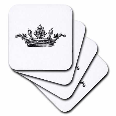 3dRose Majestic crown black and white drawing - royal tiara-like crown - vintage art - king queen princess - Soft Coasters, set of 4