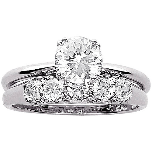 3.4 Carat T.G.W. CZ Wedding Ring Set in Sterling Silver