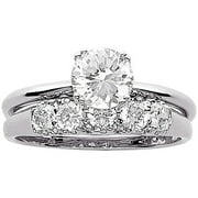 34 carat tgw cz wedding ring set in sterling silver - White Gold Wedding Rings Sets