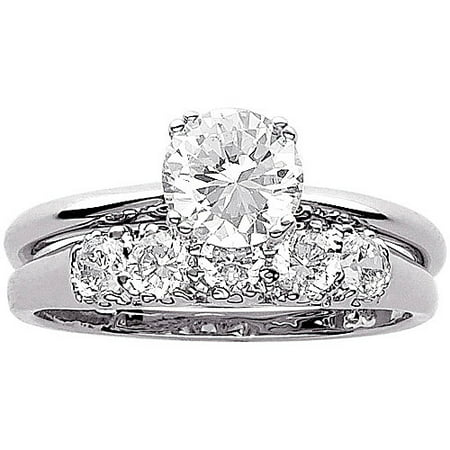 34 carat tgw cz wedding ring set in sterling silver - Sterling Silver Diamond Wedding Ring Sets