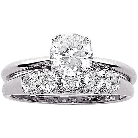34 carat tgw cz wedding ring set in sterling silver - Silver Wedding Ring