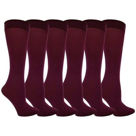 Women's Trouser Socks, 6 Pairs, Opaque Stretchy Nylon Knee High, Many Colors (6 Pairs Burgundy) Diamond Pattern Trouser Socks