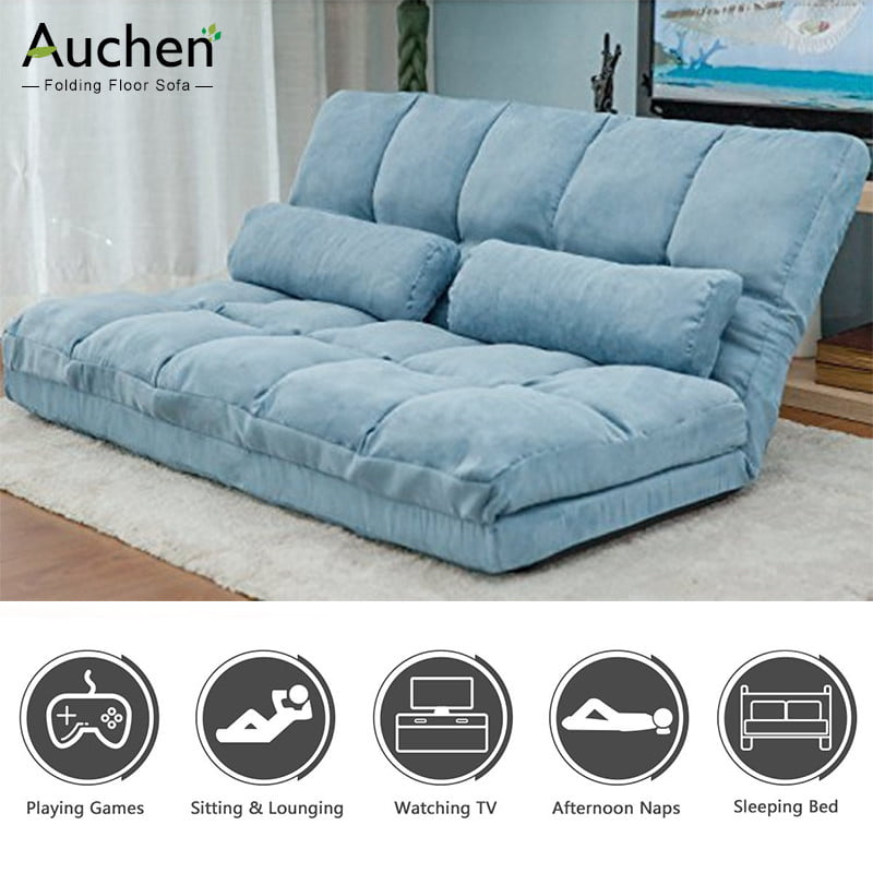 AUCHEN Floor Sofa Couch| Folding Floor Sofa Bed Floor Chair, Double Chaise Lounge Sofa Chair Floor Couch With Two Pillows (Blue) - Walmart.com - Walmart.com