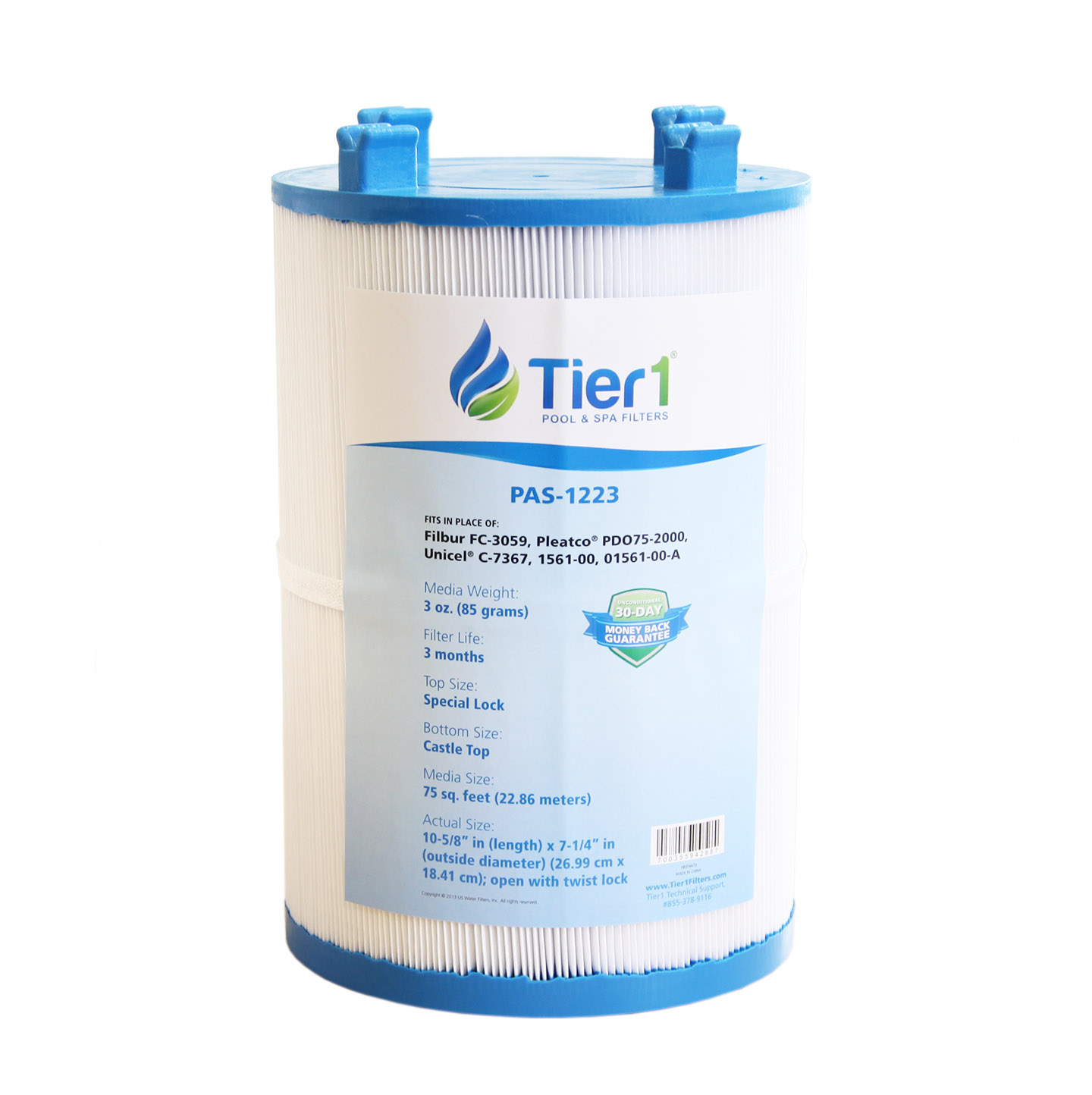 Tier1 Replacement for Dimension One 1561-00, Pleatco PDO75-2000, Filbur FC-3059, Unicel C-7367 Spa Filter Cartridge for Dimension One Spas