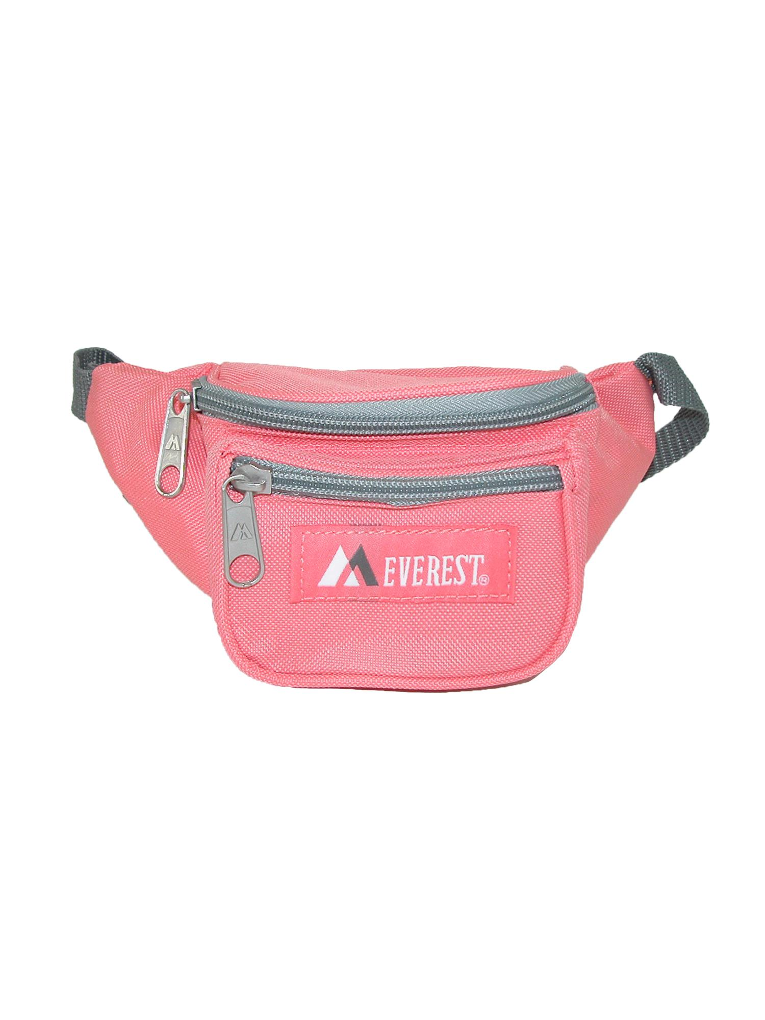 Everest  Girls Fabric Waist Pack Purse, Coral Pink/Grey