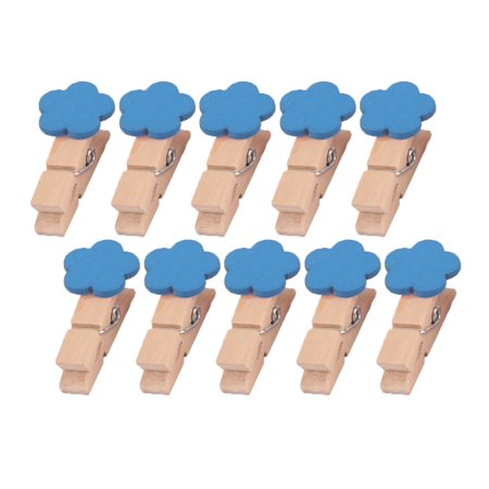 Home Wooden Flower Shaped DIY Craft Photo Picture Card Hanging Clip Blue 10pcs - Wooden Halloween Crafts Adults
