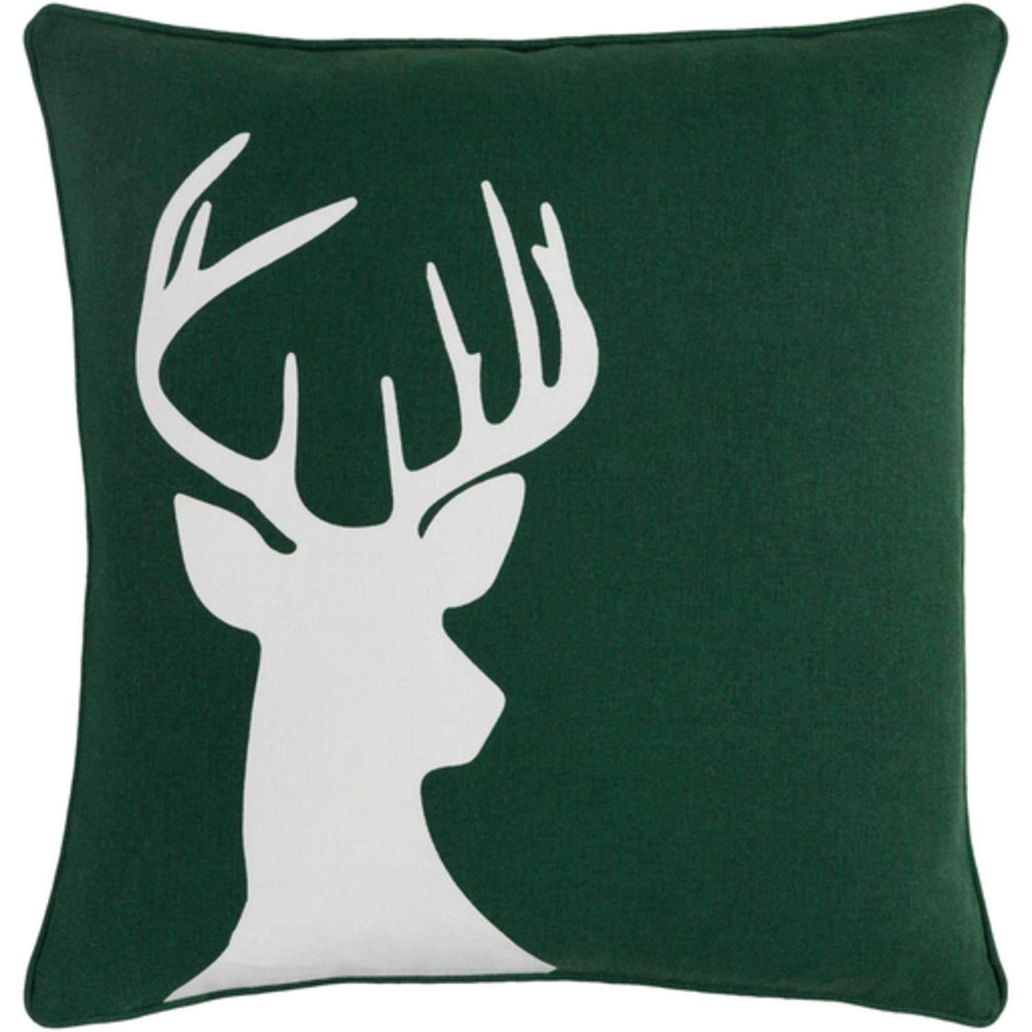 "18"" Snow White and Forest Green Decorative Country Rustic Holiday Throw Pillow"