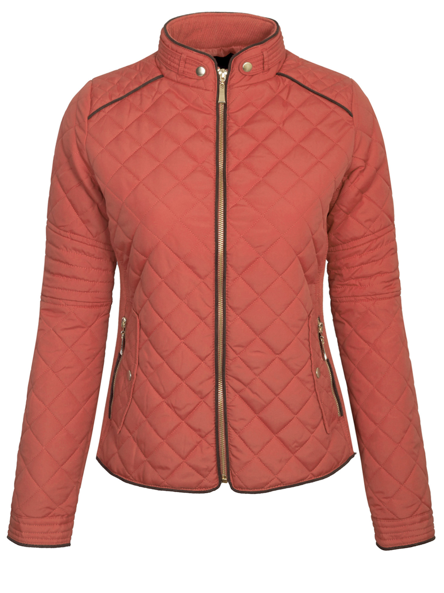 KOGMO Womens Quilted Jacket Fully Lined Lightweight Zip Up Jacket S-3X Plus