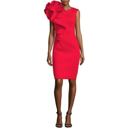 Ruffled Knee-Length Dress - Bebe Party Dress