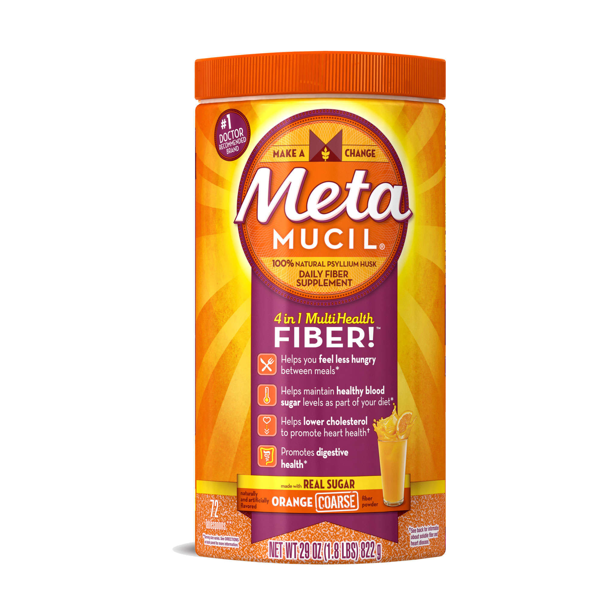 Metamucil Psyllium Fiber Supplement by Meta Orange Coarse Powder 44.2oz 114 doses