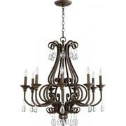 Quorum Anders 9 Light Up Chandelier in Oiled Bronze