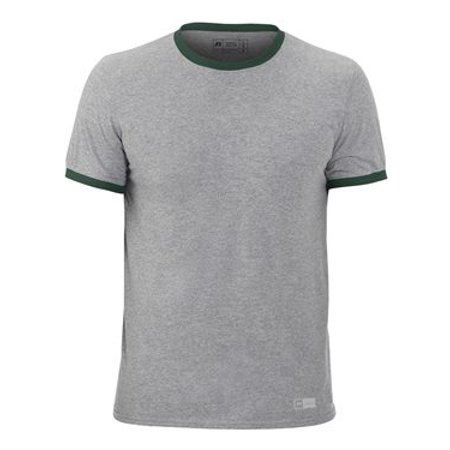 Russell Athletic Short Sleeve Ringer Tee L Oxford/ Dark Green