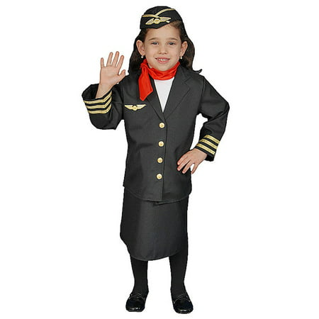 Dress Up America Flight Attendant Children's Costume Set for Girls - Flight Attendant Costume For Kids