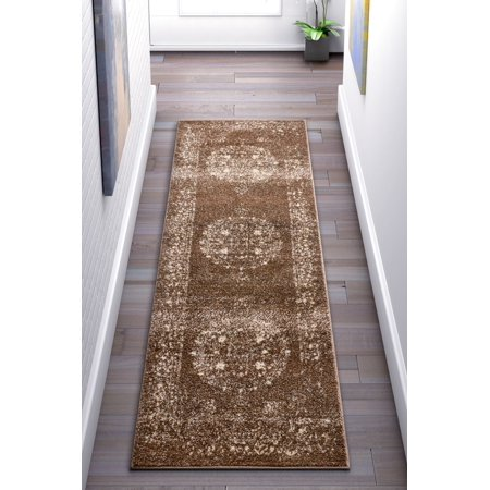 Well Woven Francesca Medallion Brown Distressed Traditional Vintage Persian Floral Oriental Area Rug 2x7 (2'3