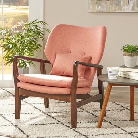Noble House Harper Mid Century Modern Fabric Club Chair, Salmon ()