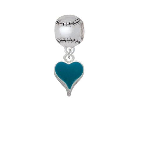 Small Long Dark Teal Heart - Softball Charm Bead