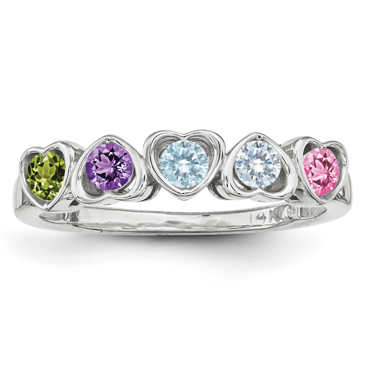 Sterling Silver Synthetic 5 Stone Mother's Ring