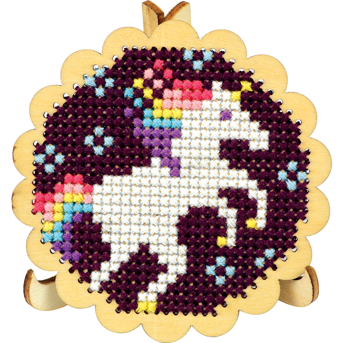 "Round Scallop Edge Display W/Easel Punched For Cross Stitch-3"" Round"