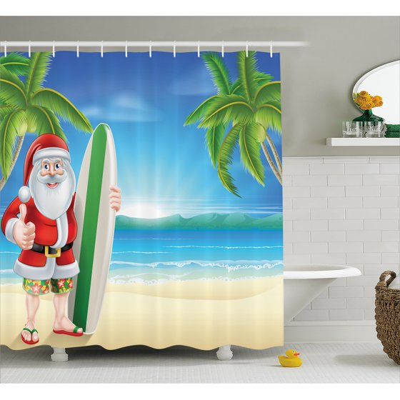 Christmas Shower Curtain Set Santa Claus With Trunks On
