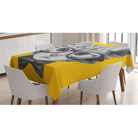 Animal Decor Tablecloth, Sketchy Hand Drawn Design Baby Hipster Cat Cute Kitten with Glasses Image, Rectangular Table Cover for Dining Room Kitchen, 52 X 70 Inches, Black and White, by Ambesonne