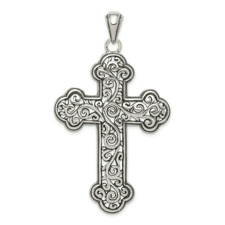 Swirl Cross Charm - 925 Sterling Silver Antiqued Swirl Cross Shaped Pendant