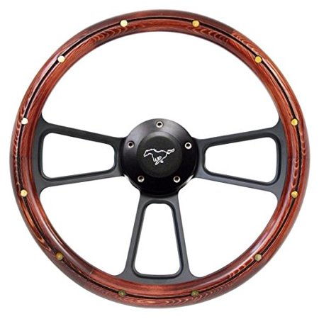 1989 1991 Mustang Steering Wheel Real Wood With Black Pony Horn  Billet Adapter