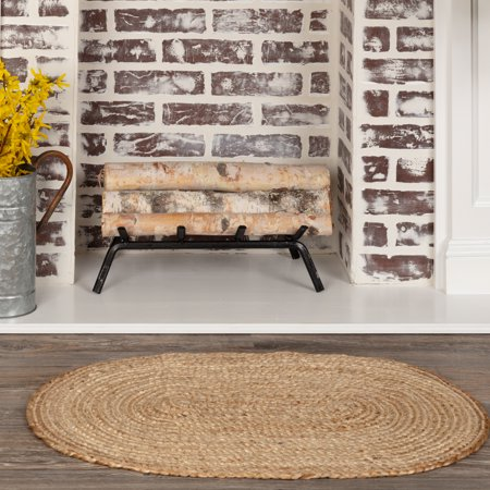 Natural Tan Modern Farmhouse Rustic Coastal Kitchen Flooring braided Jute Oval Accent Area Rug ()