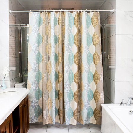 Tayyakoushi Abstract Leave Pattern Fabric Shower Curtain Bathroom Waterproof Polyester Curtains For 72x 72 With 12 Hooks Brown Beige Turquoise