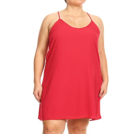 MOA COLLECTION Women's Plus Size Solid Lightweight Basic Comfy Racerback Loose Fit Slip Tank