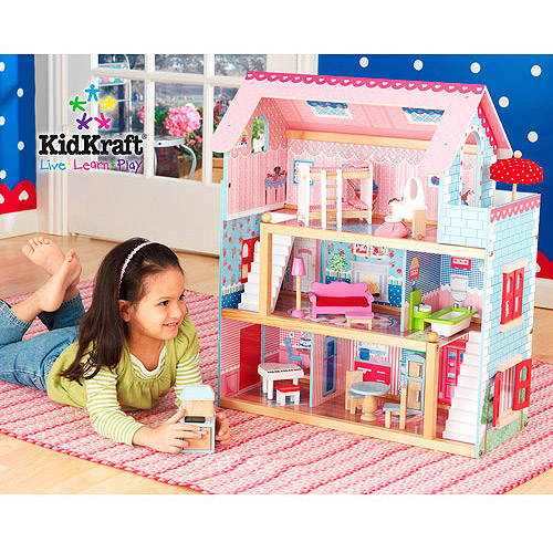 KidKraft Chelsea Wooden Doll Cottage with 17 Pieces of Furniture