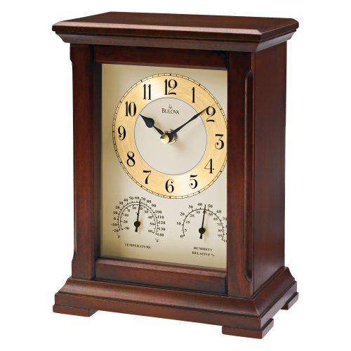 Bulova Sherwood Mantel Clock with Thermometer & Hygrometer