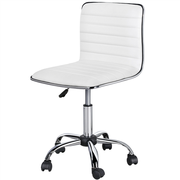 Topeakmart Office Desk Chair Adjustable Low Back Armless Computer Chair  Ribbed Task Chair W/ Wheels White