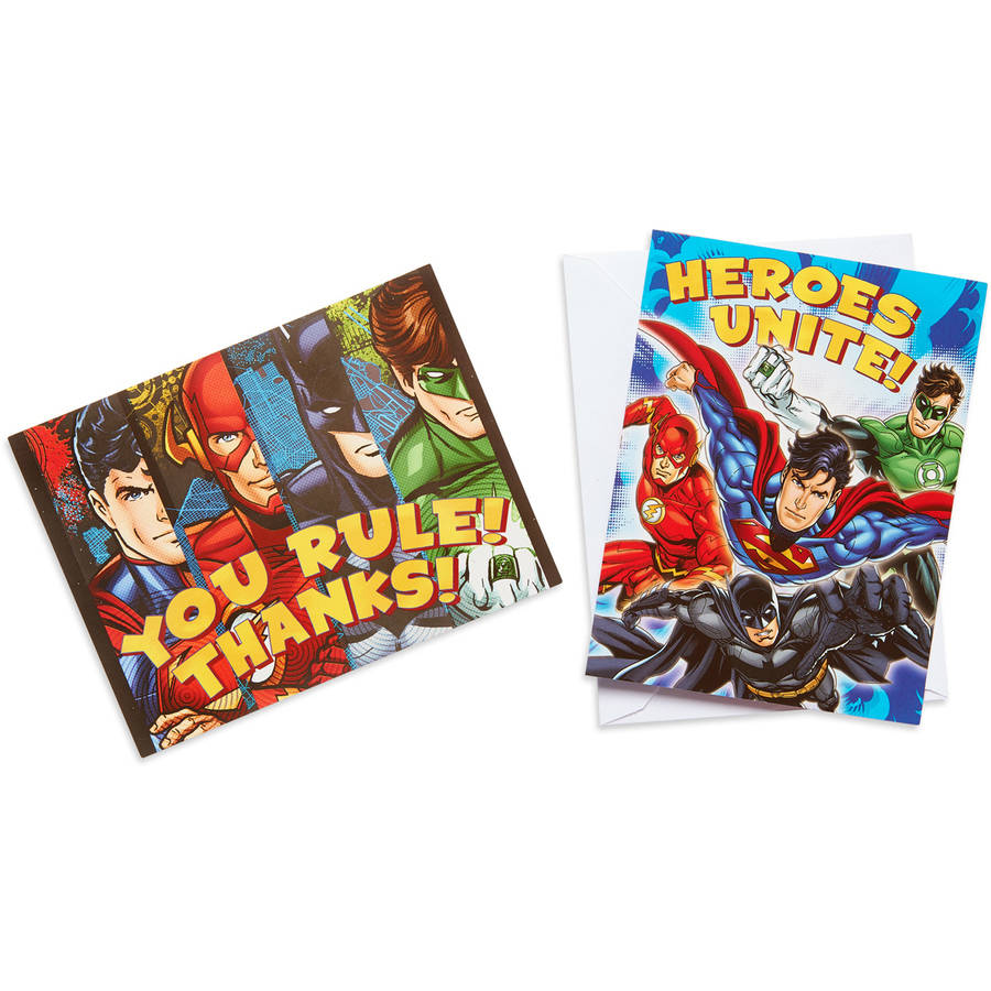 Justice League Party Invite and Thank-You Combo Pack, 8ct