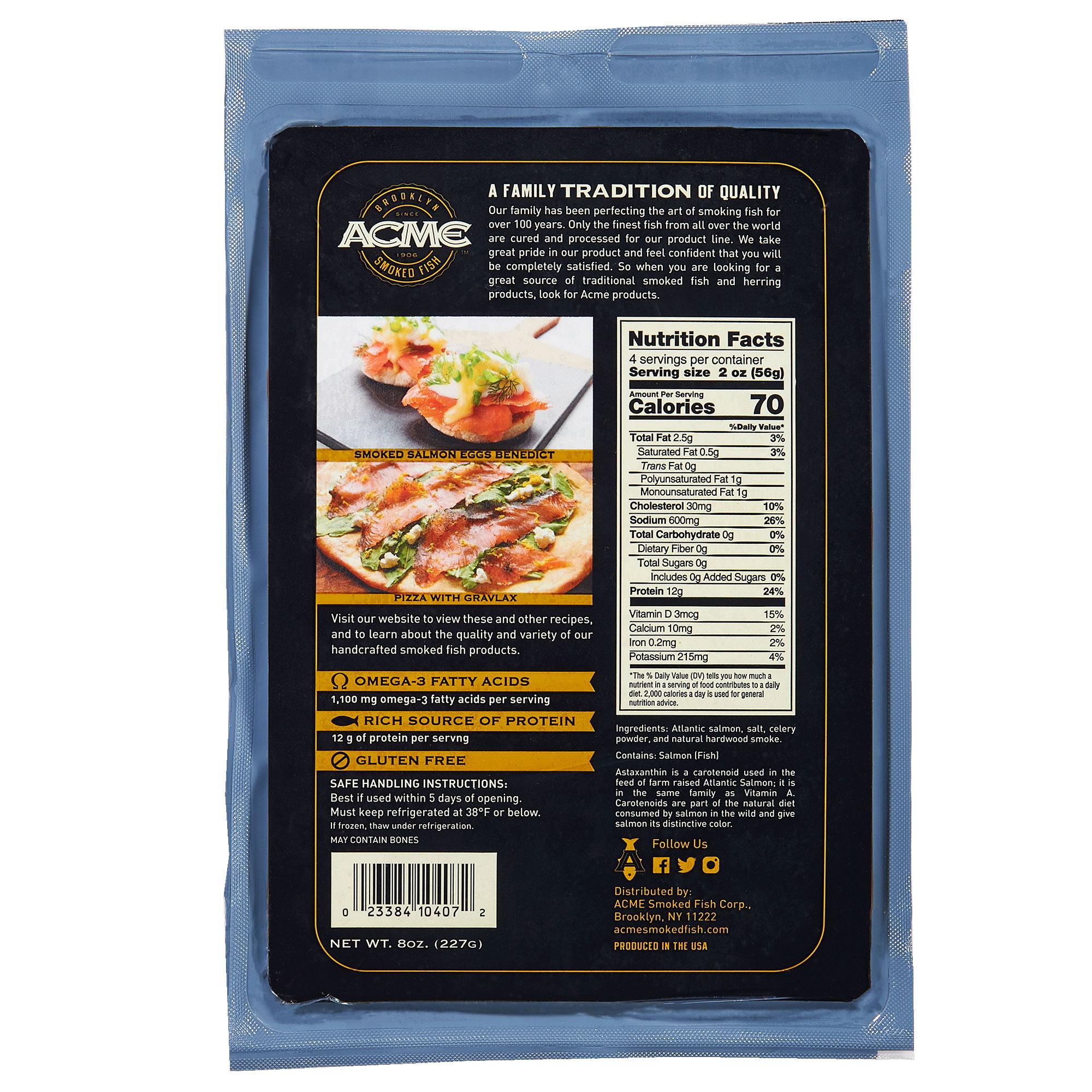 Acme Smoked Nova Salmon, 8 oz