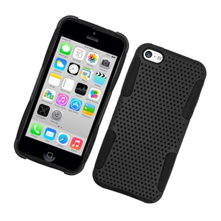 iPhone 5C Case, by Insten Mesh Dual Layer [Shock Absorbing] Protection Hybrid Hard Plastic/TPU Rubber Case Cover for Apple iPhone